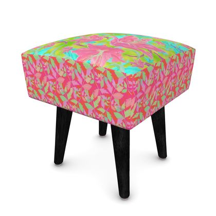 Footstool Pink, Turquoise, Botanical  Lily Garden, Cathedral Leaves  Dragonfly, Trifle