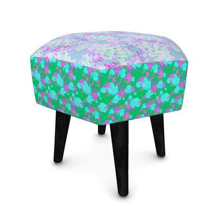 Footstool, Turquoise, mauve Botanical  Moonlight, Blue Poppies  Afternoon, Grassland.,