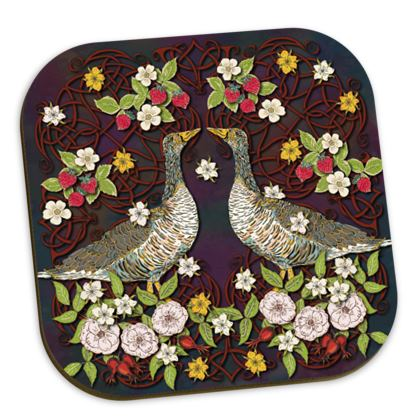 Geese with Summer Strawberries Coasters