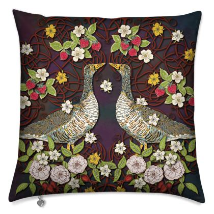 Geese with Summer Strawberries Cushion