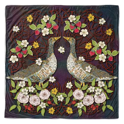 Geese with Summer Strawberries Throw Blanket