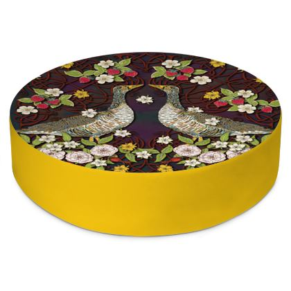 Geese with Summer Strawberries Round Floor Cushion