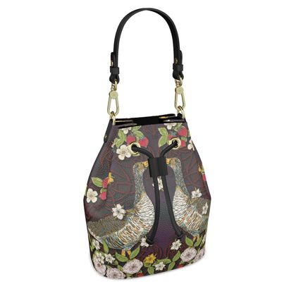 Geese with Summer Strawberries Bucket Bag