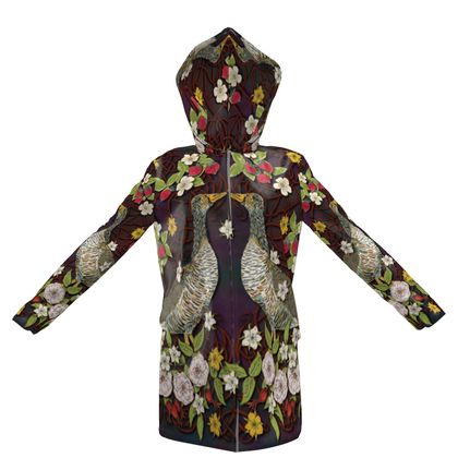 Geese with Summer Strawberries Womens Hooded Rain MAc