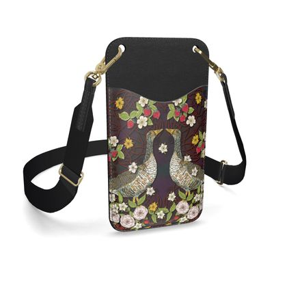 Geese with Summer Strawberries Leather Phone Case with Strap
