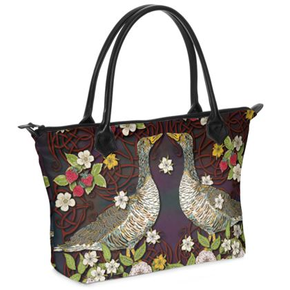 Geese with Summer Strawberries Zip Top Handbag
