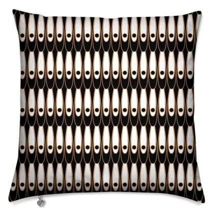 Black and white Art Nouveau - Cushions - Bohemian art deco, geometric shapes, elegant, abstract, graphic, clean, fine, statement gift - design by Tiana Lofd