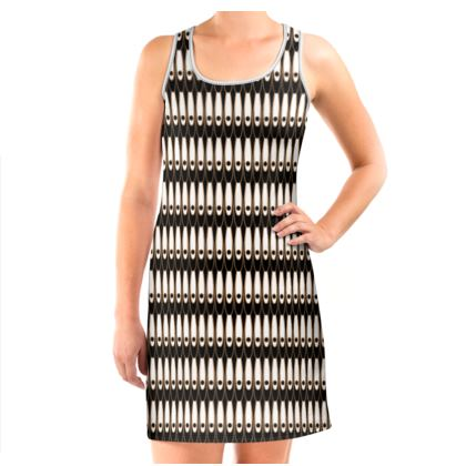 Black and white Art Nouveau - Vest Dress - Bohemian art deco, geometric shapes, elegant, abstract, graphic, clean, fine, statement gift - design by Tiana Lofd