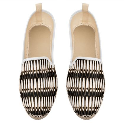 Black and white Art Nouveau - Loafer Espadrilles - Bohemian art deco, geometric shapes, elegant, abstract, graphic, clean, fine, statement gift - design by Tiana Lofd