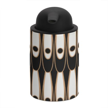 Black and white Art Nouveau - Soap Dispenser - Bohemian art deco, geometric shapes, elegant, abstract, graphic, clean, fine, statement gift - design by Tiana Lofd