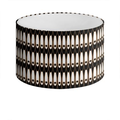 Black and white Art Nouveau - Drum Lamp Shade - Bohemian art deco, geometric shapes, elegant, abstract, graphic, clean, fine, statement gift - design by Tiana Lofd