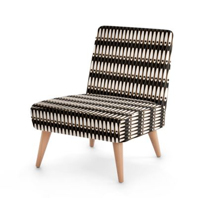 Black and white Art Nouveau - Occasional Chair - Bohemian art deco, geometric shapes, elegant, abstract, graphic, clean, fine, statement gift - design by Tiana Lofd