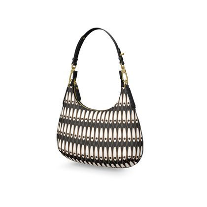 Black and white Art Nouveau - Mini Curve Bag - Bohemian art deco, geometric shapes, elegant, abstract, graphic, clean, fine, statement gift - design by Tiana Lofd