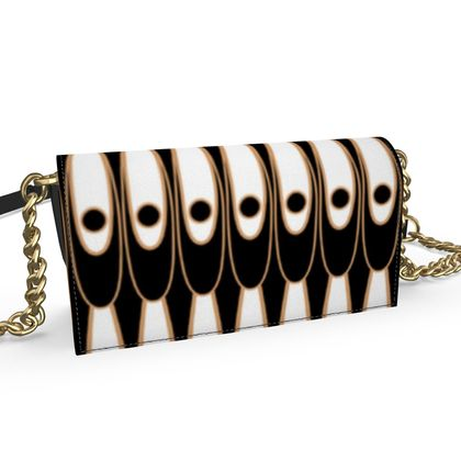 Black and white Art Nouveau - Oana Evening bag - Bohemian art deco, geometric shapes, elegant, abstract, graphic, clean, fine, statement gift - design by Tiana Lofd