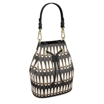 Black and white Art Nouveau - Bucket Bag - Bohemian art deco, geometric shapes, elegant, abstract, graphic, clean, fine, statement gift - design by Tiana Lofd