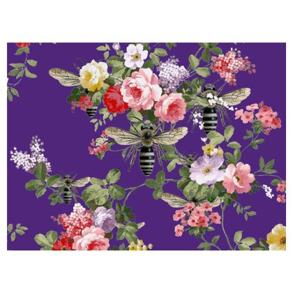 Flora and Purple Bee Zip Top Handbag