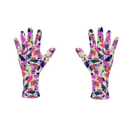 Fleece Gloves Pink, Cream Botanical  Diamond Leaves  Sunset