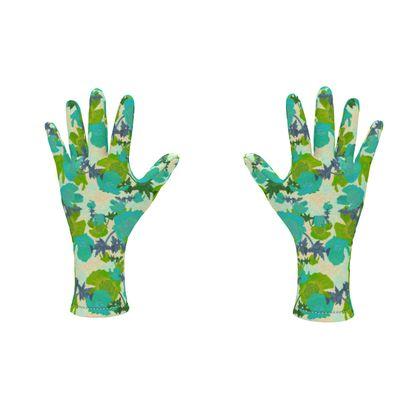 Fleece Gloves Turquoise, Green Botanical  Field Poppies  Pharaoh