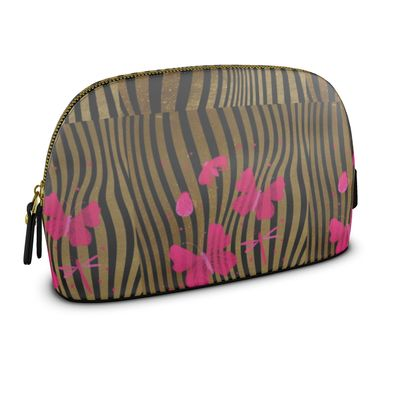 Premium Nappa Make Up Bag - Emmeline Anne Stripes and Butterflies