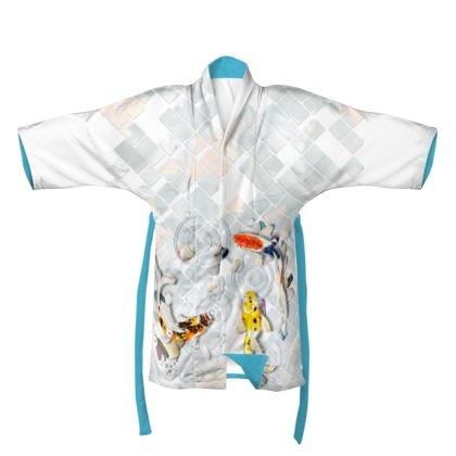 Kimono - Smooth, Soft Material With Beautiful Clear Water Koi Theme Artwork Two
