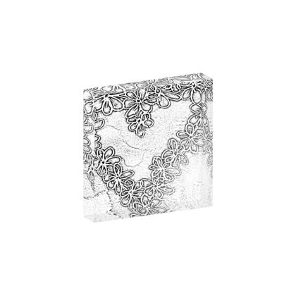 White n Black Heart of Flowers heartefact (10.5x10.5cm)