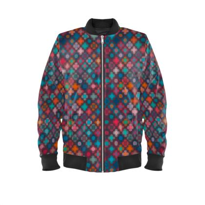 Granny flowers - Mens Bomber Jacket - flowers, vintage, multicolor, brown, floral, geometric, graphic, Boho gift, granny chic, patchwork - design by Tiana Lofd