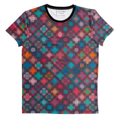 Granny flowers - Cut And Sew All Over Print T Shirt - flowers, vintage, multicolor, brown, floral, geometric, graphic, Boho gift, granny chic, patchwork - design by Tiana Lofd