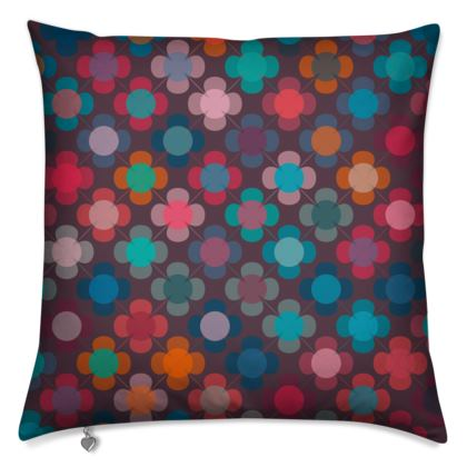 Granny flowers - Cushions - flowers, vintage, multicolor, brown, floral, geometric, graphic, Boho gift, granny chic, patchwork - design by Tiana Lofd