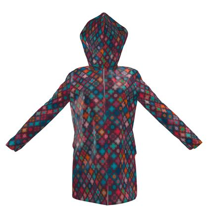 Granny flowers - Womens Hooded Rain Mac - flowers, vintage, multicolor, brown, floral, geometric, graphic, Boho gift, granny chic, patchwork - design by Tiana Lofd