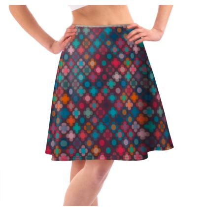 Granny flowers - Flared Skirt - flowers, vintage, multicolor, brown, floral, geometric, graphic, Boho gift, granny chic, patchwork - design by Tiana Lofd
