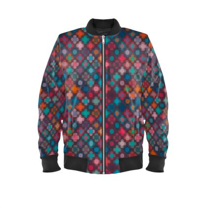 Granny flowers - Ladies Bomber Jacket - flowers, vintage, multicolor, brown, floral, geometric, graphic, Boho gift, granny chic, patchwork - design by Tiana Lofd