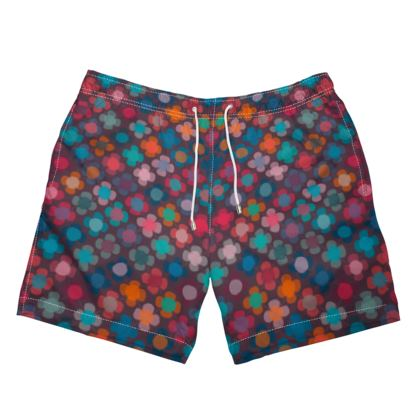 Granny flowers - Mens Swimming Shorts - flowers, vintage, multicolor, brown, floral, geometric, graphic, Boho gift, granny chic, patchwork - design by Tiana Lofd