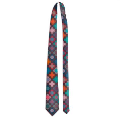 Granny flowers - Tie - flowers, vintage, multicolor, brown, floral, geometric, graphic, Boho gift, granny chic, patchwork - design by Tiana Lofd