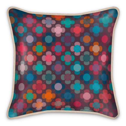 Granny flowers - Silk Cushions - flowers, vintage, multicolor, brown, floral, geometric, graphic, Boho gift, granny chic, patchwork - design by Tiana Lofd