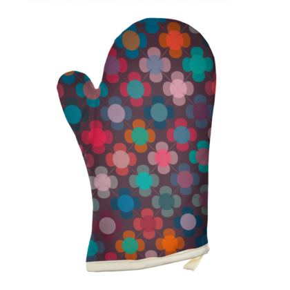 Granny flowers - Oven Glove - flowers, vintage, multicolor, brown, floral, geometric, graphic, Boho gift, granny chic, patchwork - design by Tiana Lofd