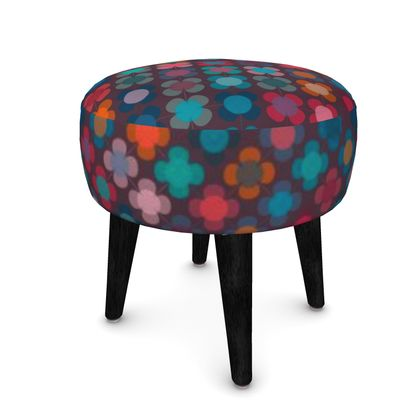 Granny flowers - Footstool (Round, Square, Hexagonal) - flowers, vintage, multicolor, brown, floral, geometric, graphic, Boho gift, granny chic, patchwork - design by Tiana Lofd