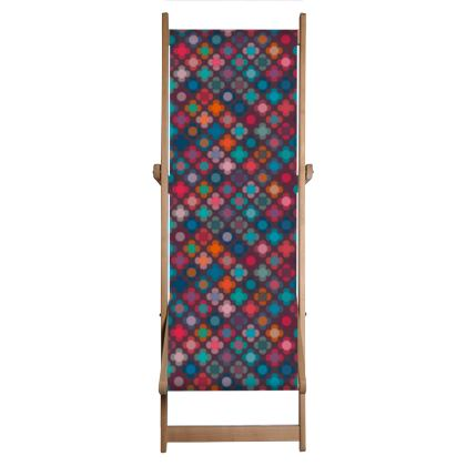 Granny flowers - Deckchair - flowers, vintage, multicolor, brown, floral, geometric, graphic, Boho gift, granny chic, patchwork - design by Tiana Lofd