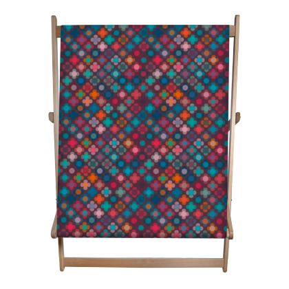 Granny flowers - Double Deckchair - flowers, vintage, multicolor, brown, floral, geometric, graphic, Boho gift, granny chic, patchwork - design by Tiana Lofd