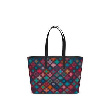 Granny flowers - Kika Tote - flowers, vintage, multicolor, brown, floral, geometric, graphic, Boho gift, granny chic, patchwork - design by Tiana Lofd