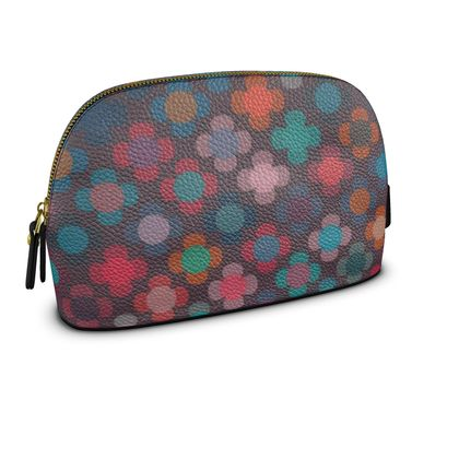 Granny flowers - Premium Nappa Make Up Bag - flowers, vintage, multicolor, brown, floral, geometric, graphic, Boho gift, granny chic, patchwork - design by Tiana Lofd