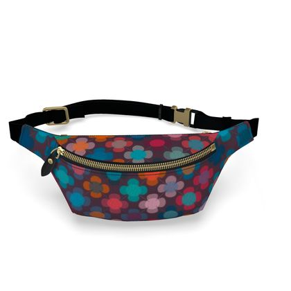 Granny flowers - Fanny Pack - flowers, vintage, multicolor, brown, floral, geometric, graphic, Boho gift, granny chic, patchwork - design by Tiana Lofd