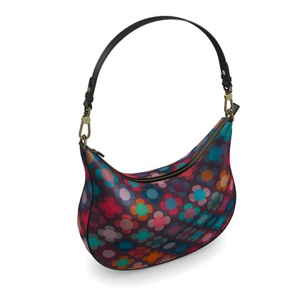 Granny flowers - Curve Hobo Bag - flowers, vintage, multicolor, brown, floral, geometric, graphic, Boho gift, granny chic, patchwork - design by Tiana Lofd