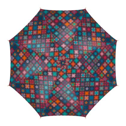Granny flowers - Umbrella - flowers, vintage, multicolor, brown, floral, geometric, graphic, Boho gift, granny chic, patchwork - design by Tiana Lofd