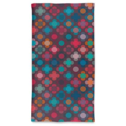 Granny flowers - Neck Tube Scarf - flowers, vintage, multicolor, brown, floral, geometric, graphic, Boho gift, granny chic, patchwork - design by Tiana Lofd