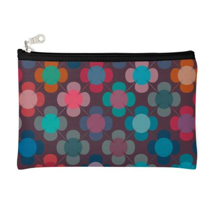 Granny flowers - Zip Top Pouch - flowers, vintage, multicolor, brown, floral, geometric, graphic, Boho gift, granny chic, patchwork - design by Tiana Lofd