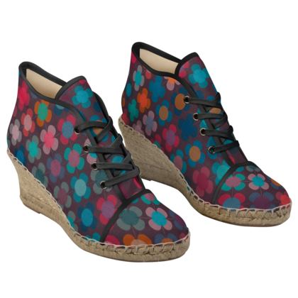 Granny flowers - Ladies Wedge Espadrilles - flowers, vintage, multicolor, brown, floral, geometric, graphic, Boho gift, granny chic, patchwork - design by Tiana Lofd