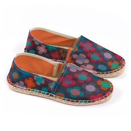 Granny flowers - Espadrilles - flowers, vintage, multicolor, brown, floral, geometric, graphic, Boho gift, granny chic, patchwork - design by Tiana Lofd