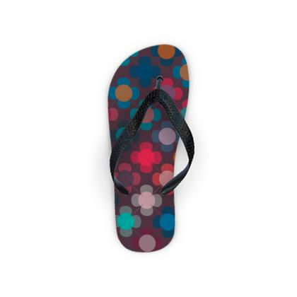 Granny flowers - Flip Flops - flowers, vintage, multicolor, brown, floral, geometric, graphic, Boho gift, granny chic, patchwork - design by Tiana Lofd