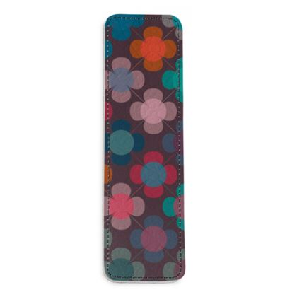 Granny flowers - Leather Bookmarks - flowers, vintage, multicolor, brown, floral, geometric, graphic, Boho gift, granny chic, patchwork - design by Tiana Lofd