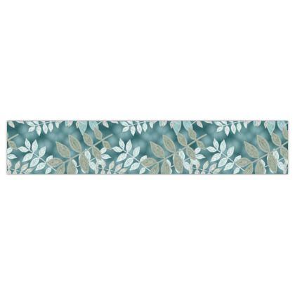 Printed Ribbon Grey, Teal  Etched Leaves  Metal Spring
